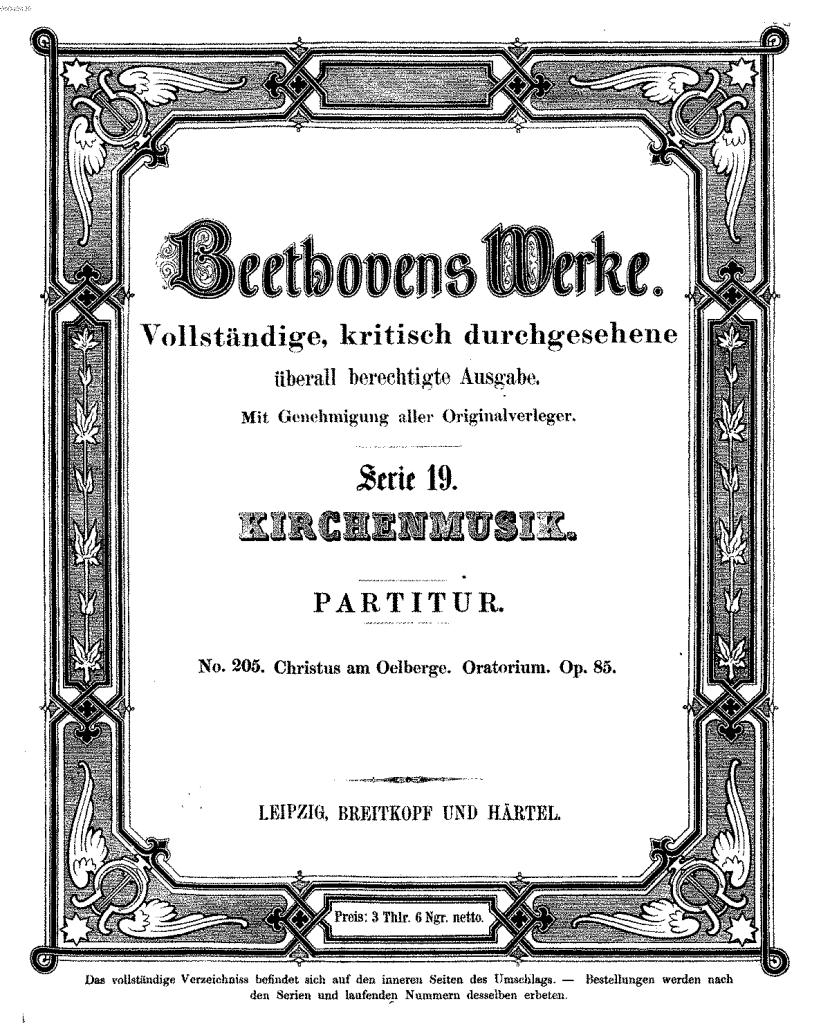 La partitura pubblicata da Breitkopf & H?rtel.