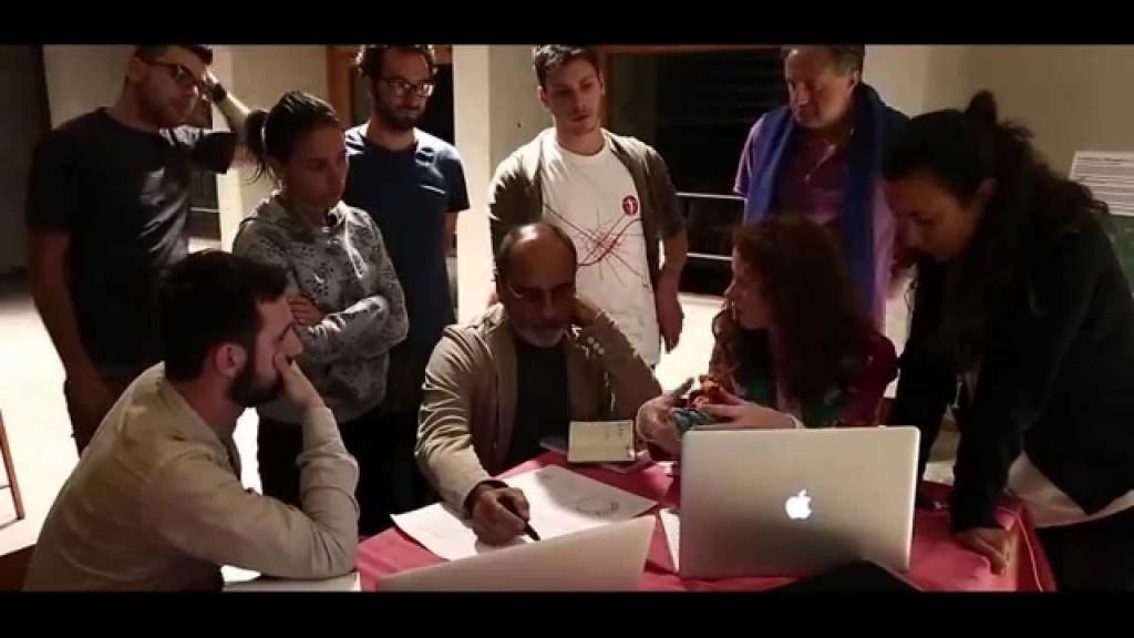 L'arch. Edoardo Milesi e un gruppo di colalboratori.