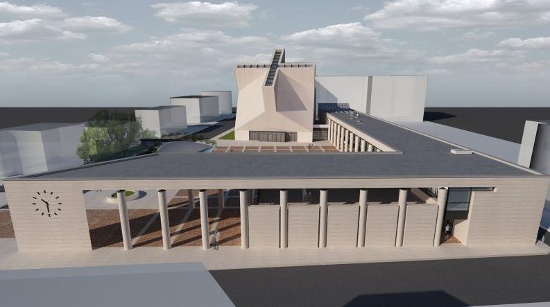 Il modello del complesso parrocchiale.