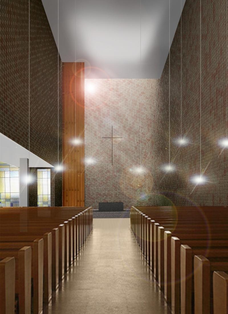 Vista interna verso la pedana dell'altare.