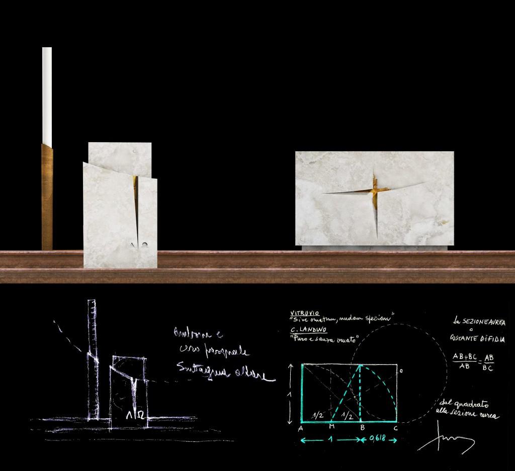 Fig. 13 – Schizzi preliminari e versione definitiva di altare, ambone, cero pasquale (G. Gualdrini, 2014)
