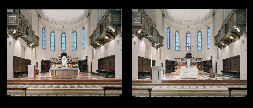 Fig. 15 – Il presbiterio della Cattedrale di Faenza (G. Gualdrini, 2014) comparato al precedente assetto: l'ambone e la cattedra.