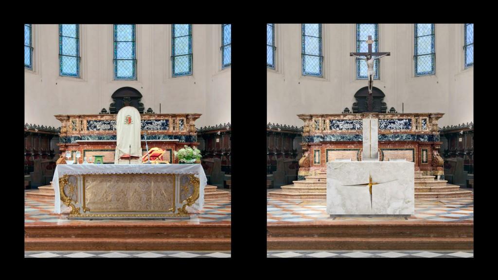 Fig. 16 – Il nuovo assetto del presbiterio della Cattedrale di Faenza: l'altare e la cattedra (G. Gualdrini, 2014)