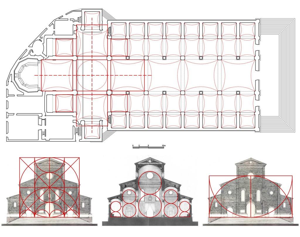 Fig. 2 – Moduli geometrici e rapporti proporzionali della Cattedrale di faenza