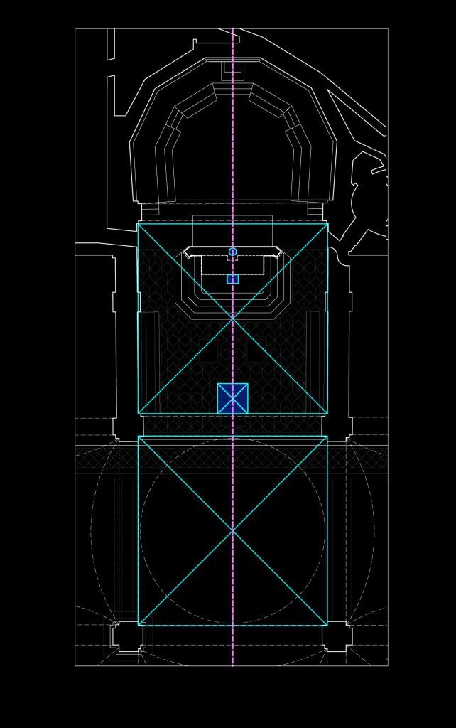 Fig. 7 – Il progetto preliminare dell'altare quadrato all'interno della griglia modulare del presbiterio della Cattedrale di Faenza (G. Gualdrini, 2013)