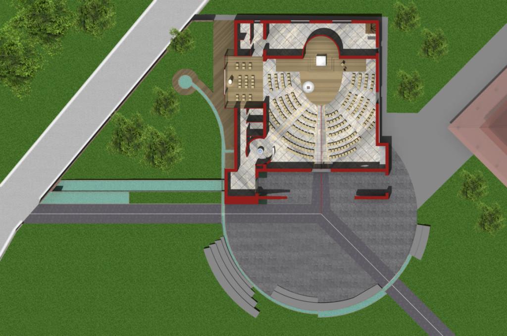 Pianta della chiesa e vista interna (rendering di progetto).