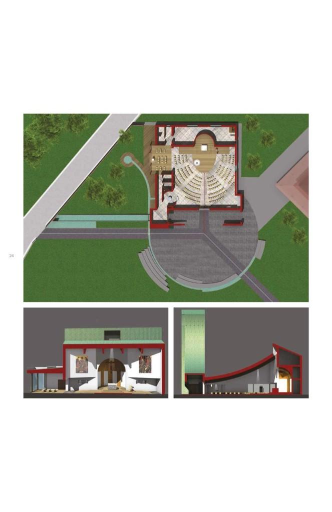 Planimetria dell'insieme, in evidenza la pianta della chiesa e le sezioni frontale e trasversale.