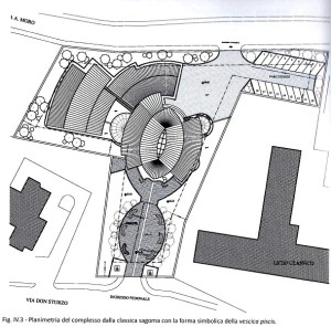 La pianta generale del complesso e, sotto, quella della chiesa.