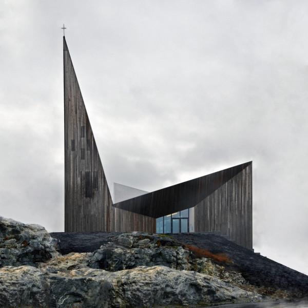 Prospetto verso monte, con l'ingresso principale. (RRA_Knarvik-©Hundven-Clements_Photography)