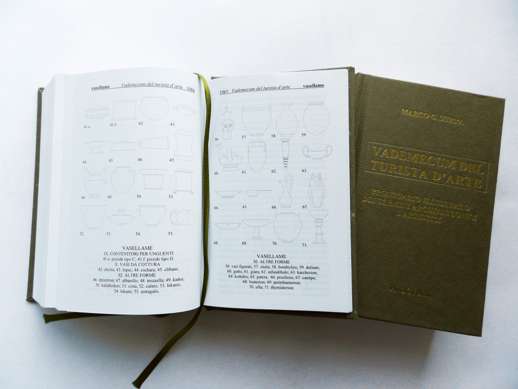 """Il volume """"Vademecum del Turita d'Arte"""" aperto sulla scheda che illustra diversi tipi di vasellame. La copartina."""