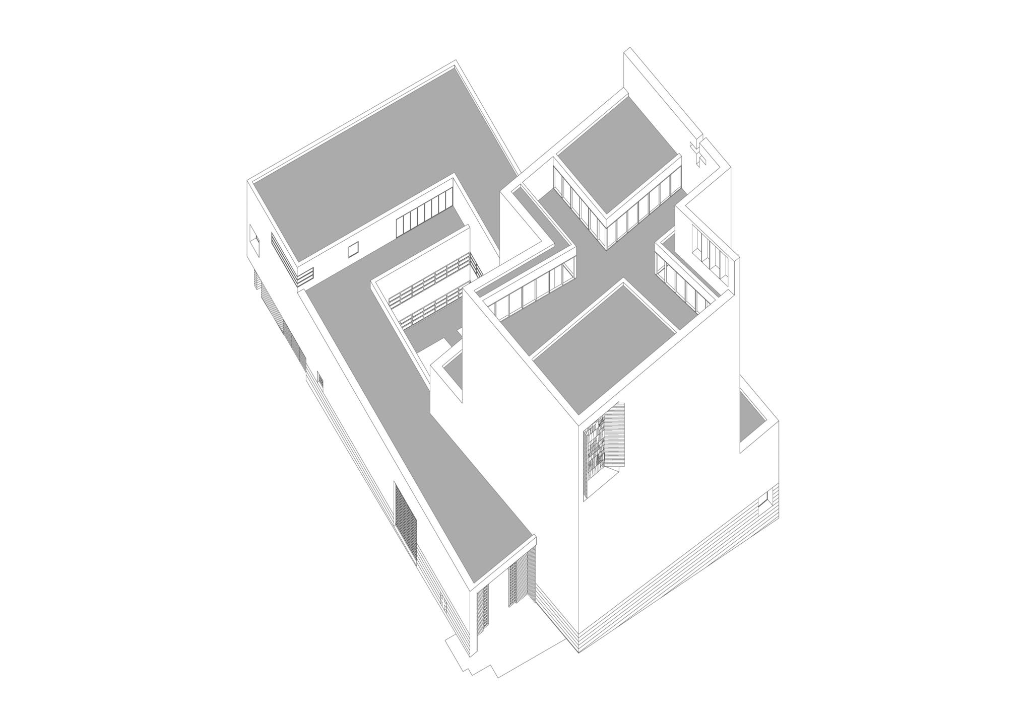 Assonometria del volume. In evidenza la croce che disegna la copertura e che definisce lo spazio interno.