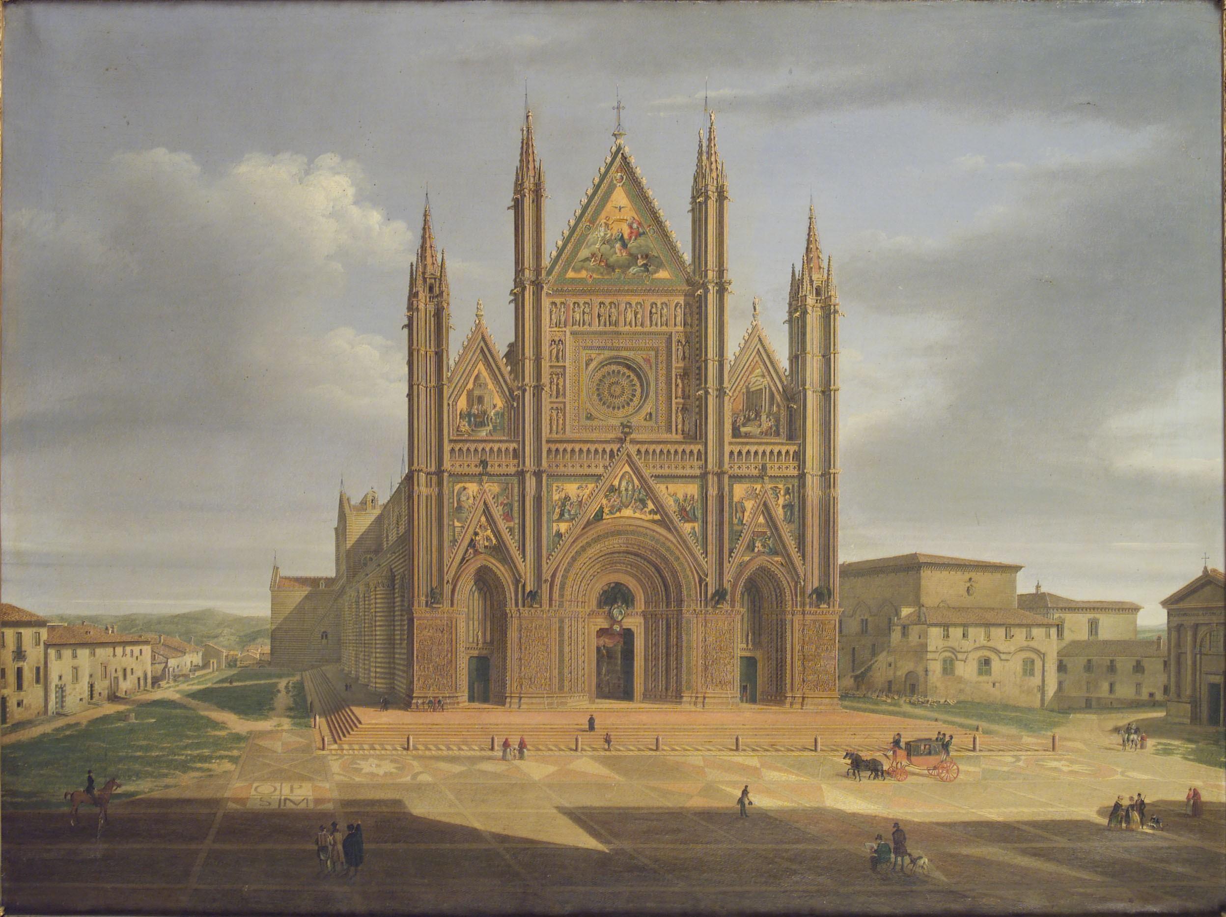 Duomo di Orvieto, le tre porte della facciata principale. Annibale Angelini sec. XIX (seconda metà)