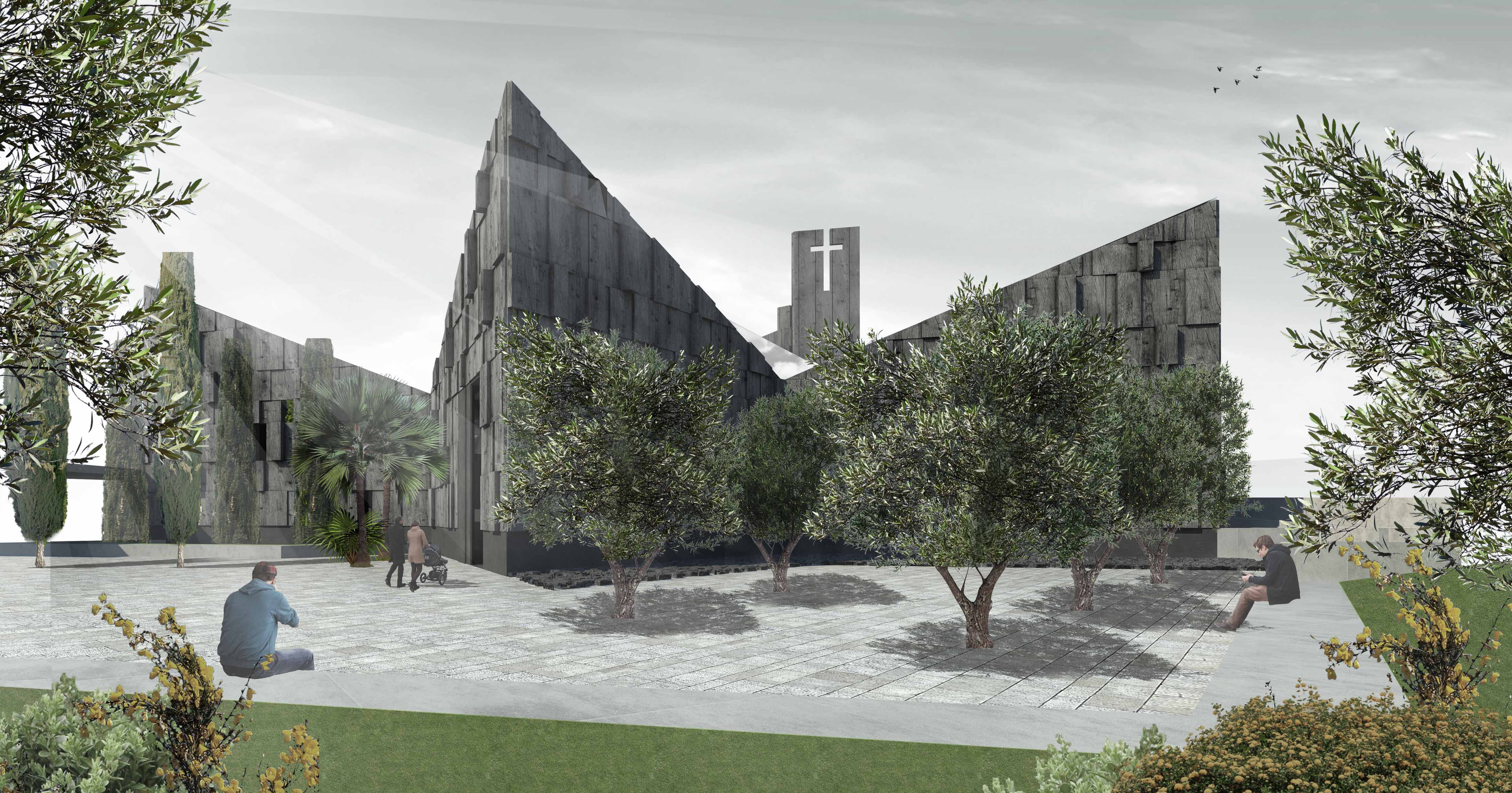 Render dalla nuova piazza-sagrato verso il giardino degli ulivi e il nuovo ingresso al parco.