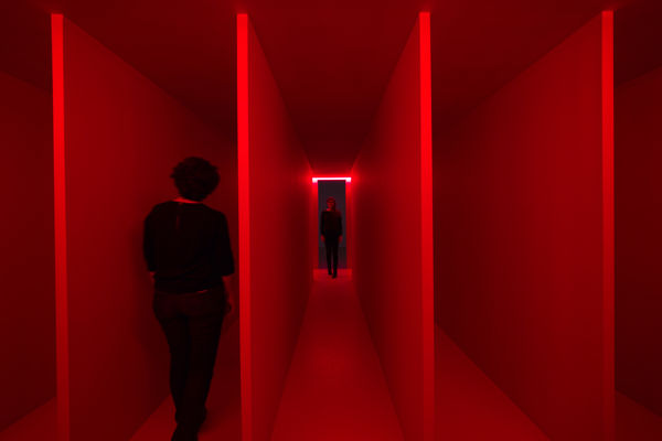 Spatial Environment in Red Light ( Ambiente Spaziale a Luce Rossa ) 1967/2019 Painted wood, glass tubes, neon, and mixed media 220 × 600 × 490 cm Reconstruction authorized by Fondazione Lucio Fontana - project Pirelli HangarBicocca 2017